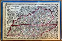 "Large Antique WH Gamble County Map of KENTUCKY & TENNESSEE,1877, 22.5""x15"""
