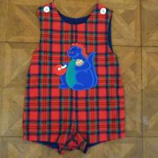 VINTAGE Boys KELLY'S KIDS Dinosaur Jon Jon Plaid Romper Outfit 3T