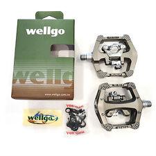 "Wellgo WAM-D10 DH Magnesium 9/16"" Clipless / Platform MTB Bike Pedals - Grey"