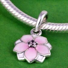 PINK Pale Cerise BLOOM MAGNOLIA Dangle .925 Sterling Silver European Charm Bead