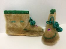 "7"" Brown Real Fur Green Felt Bead Trim Unisex Bootie Slippers Pom-Poms"