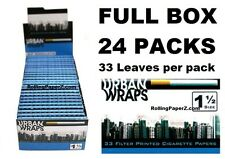 Full Box Urban Wraps Filter Printed Gummed 1 1/2 Cigarette Rolling Papers 33 Per