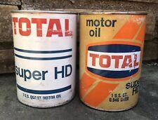 Vtg Pair 1960s TOTAL Super HD Motor Oil 1 Quart Oil Can LEONARD Alma Michigan