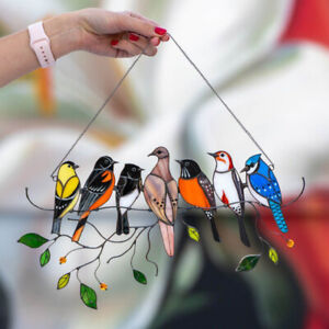 Acrylic Glass Window Panel Pendant Multicolor Birds Wire Home Decor Hanging Gift