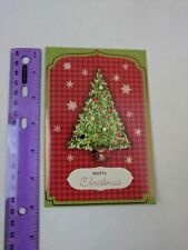 Paper Craft International Greetings Christmas Holiday Card Tree Green & Red