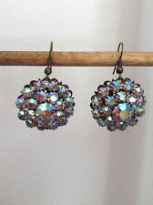 Handcrafted, artisan crystal earrings, made from vintage jewelry