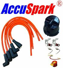MGB 1800 Points,Condenser,Red Rotor arm,Side Cap ,AccuSpark leads for Lucas 25D