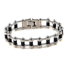Men's Stainless Steel Rubber Motorcycle Biker Bicycler Chain Bracelet Bangle