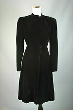 VTG Women's 40s Black Velvet Princess Coat Sz S #3135 1940s
