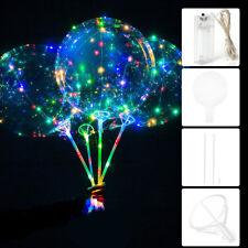 """Set 20 """" Ballon Transparent Avec LED Lumière Corde Bâton Décoration Fête Noël NF"""