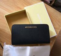MICHAEL KORS  jet set Long wallet/purse in BLACK Saffiano