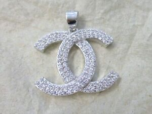 """REAL 925 Sterling Silver Big Double White Cubic Zirconia """"X"""" Pendant GIRL WOMEN"""