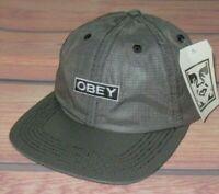 MENS OBEY CHARCOAL BLACK CAP STRAPBACK ADJUSTABLE HAT