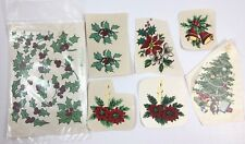 Vtg Christmas Bells Tree Mistletoe Candle Water Slide Ceramic Decal 1960s 1970s