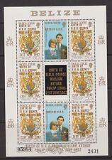 1981 Royal Wedding Diana MNH Stamp Sheet Belize William Birth Opt 1982 2431