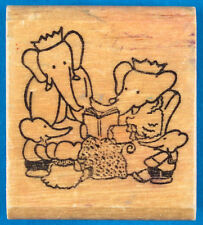 Babar the Elephant Story Time Rubber Stamp - Mom Reads Book to Kids - Kidstamps