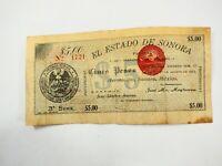 Mexico Banknote S1067b M3816 Estado De Sonora 5 Pesos, 1913 fine#1721