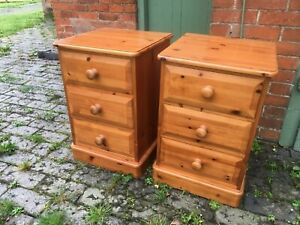 Lovely Matching Pair of Solid Pine Bedside Drawers