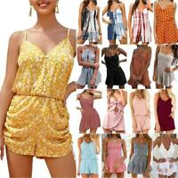 Womens Strappy Playsuit Lady Cami Rompers Mini Jumpsuit Shorts Summer Holiday