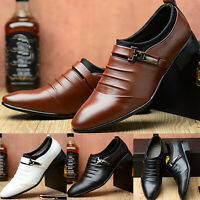 Men's Oxfords Leather Shoes Casual Pointed Toe Wedding Formal Work Shoes Size