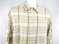 Brooks Brothers Men's Irish Linen Shirt Large Beige Plaid