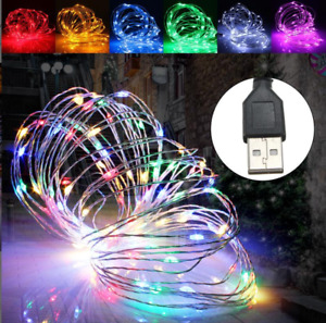 3-5M USB LED Copper Wire String Fairy Lights Party Home Garden White Warm Decor