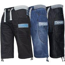 Mens Denim Shorts Elasticated Rib Waist Half Pants Big King Sizes by Enzo Jeans