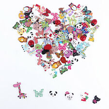 Lot of 100 Mixed Animal Bear Pattern Wood Buttons Sewing-Scrapbook-Crafts