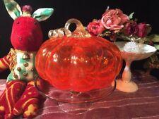 "Murano Style Handblown Art Glass Orange Pumpkin 6"" Tall"