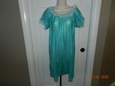 Vintage Private Moments Nightgown Green Nylon Gown Long Size M 1970 Nwot