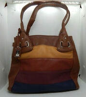 Stone & CO Ladies Handbag. Tracy, Fall Stripe, Multicolor Pebbled Leather NWD