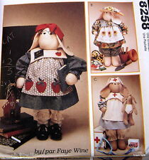 "Faye Wine Bunny Rabbit doll pattern NURSE TEACHER 27"" greeter garden baby 10"""