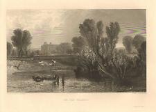 J.M.W.Turner, Landscape, Thames River, Laundry, Vintage, 1854 Antique Art Print.