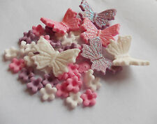 Edible Sugar Icing Blossom Flowers Glittered Butterfly Cup Cake Toppers