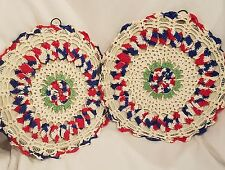"""Vintage Crochet Trivet Hot Plate Wall Hanging Doily Red White Blue 9"""" Lot of 2"""
