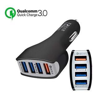 Car Charger 4 Port USB Fast Charging Cigarette Lighter USB Adaptor 12/24V QC3.0
