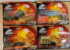 New Jurassic World Triceratops Raptor & T-Rex Matchbox Vehicles 4 Sets