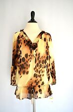 NWT! ANNE KLEIN Animal Print Ruffled Sheer Drawstring BLOUSE SHIRT sz M $79