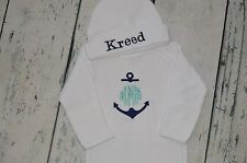 PERSONALIZED Anchor  Monogram Baby Sleeper Gown and Hat Set - Circle Font