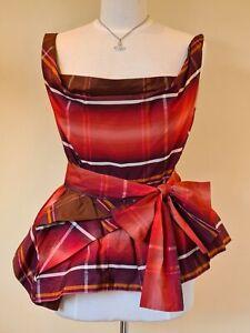 Vivienne Westwood red Tartan check Corset Style peplum blouse Size 44 UK 12