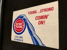 1979-80 Detroit Pistons Basketball Pocket Schedule Elias Brothers Version