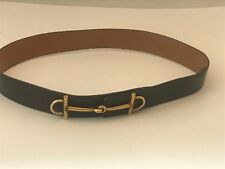 HERMES 118618 VINTAGE BROWN LEATHER GOLD TONE HORSEBIT BUCKLE BELT