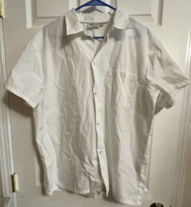 new CHEF WORKS Size M Unisex Uniform Jacket White Coat Long Sleeves Snap up
