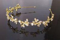 Gold Blätter Stirnband Braut Kopfbedeckung silber Strass Haarspange Band Tiara