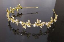 Gold Leaves Headband Bridal Headpiece Silver Diamante Hair Vine Band Tiara 2429