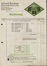 RANIS THÜR., 2x Rechnung 1938, Matratzen-Fabrik Alfred Richter