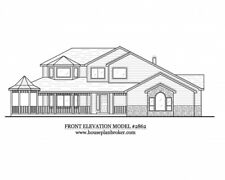 Custom set of architectural Home house design blueprints - 2,862 sq. ft.