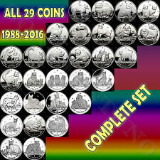 1988-2016 Isle of Man - COMPLETE SET of 29 CuNi Copper Nickel CAT COINS no boxes