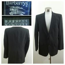 Burberrys' Barneys Men's Gray Stripe Wool Single Vent 2 Button Blazer/Jacket 38R