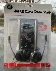 Vintage G.E. #7-1627S AM/FM Stereo Headset Radio Made In Malaysia UNUSED misp